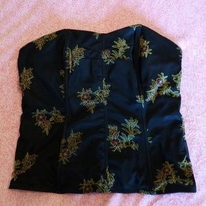 Cacique Bustier - Black with Flowers - Size 14/16